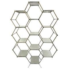 Modular Hexagonal Chrome and Mirrors Étagère, 1970s