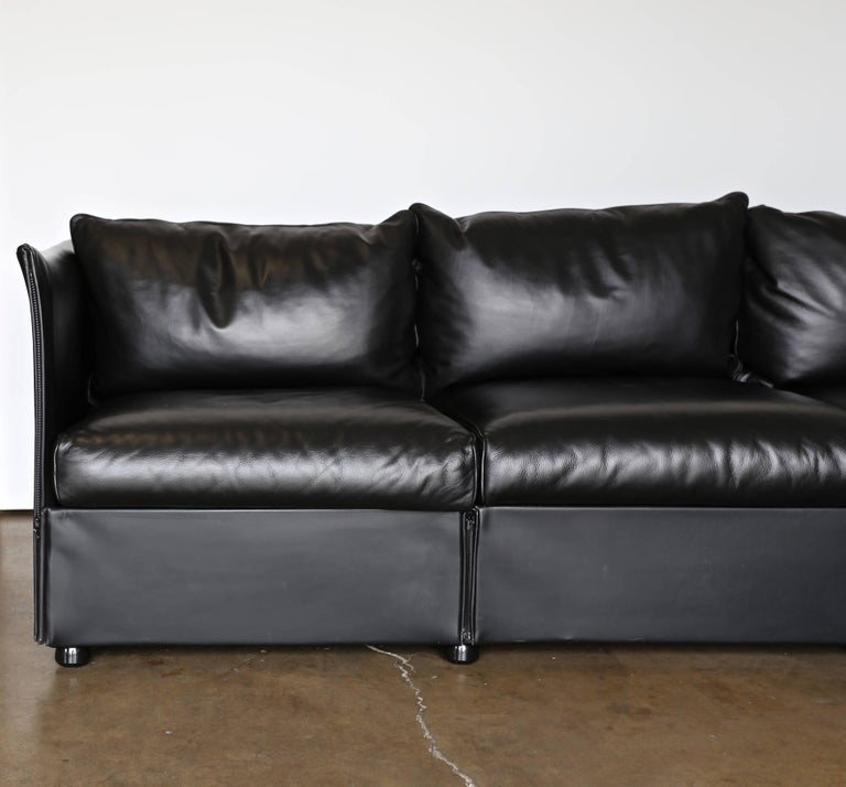 Modular Leather Char-a-Banc Sofa by Mario Bellin for Cassina For Sale 4