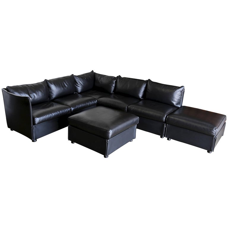 Modular Leather Char-a-Banc Sofa by Mario Bellin for Cassina For Sale