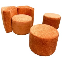 Modular Lounge Chair and Poufs Set, Italy, 1970s