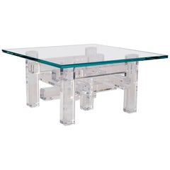 Modular Lucite Block and Glass Cocktail Table