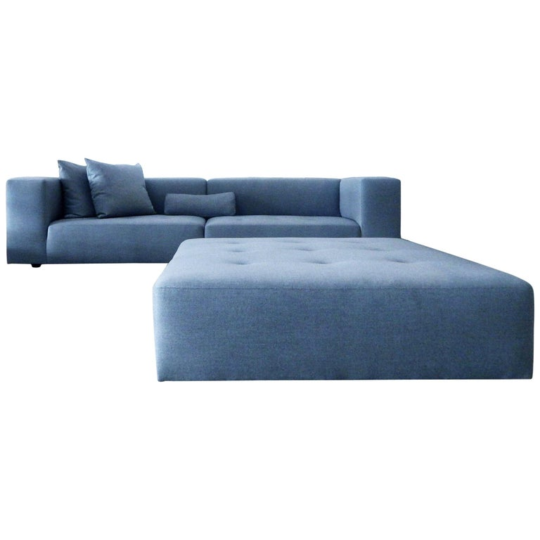 Modular Modern Sofa and Large Ottoman with Pillows, Linear & Comfortable