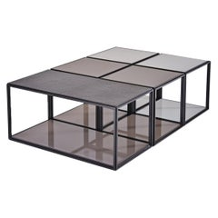 "Modular ""Mondrian"" Brass, Bronze and Glass Low Table, by P. Tendercool"