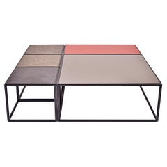 """Modular """"Mondrian"""" Brass, Bronze and Glass Low Table, by P. Tendercool"""