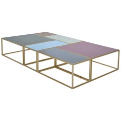 "Modular ""Mondrian"" Brass,Bronze and Glass Low Table, by P. Tendercool"