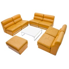 Modular Living Room Set & Table Leather Sofa Chair by Horst Brüning for Kill 70s
