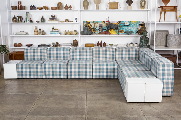 """""""Sistema 61"""" modular seating system by Giancarlo Piretti for Anonima Castelli, Italy, circa 1970s. The sectional features seven seating blocks, eight back/armrests, and one corner piece, all upholstered in an amazing blue plaid linen. The set also"""