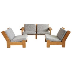 Modular Sectional Sofa in Blond Oak and Fabric, Northern Europe 1960