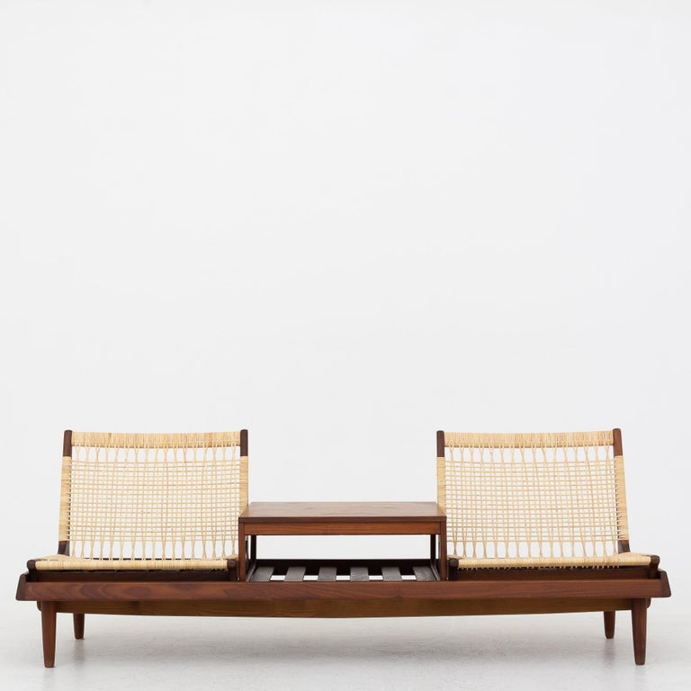 Modular Set in teak and new cane by Hans Olsen For Sale 4