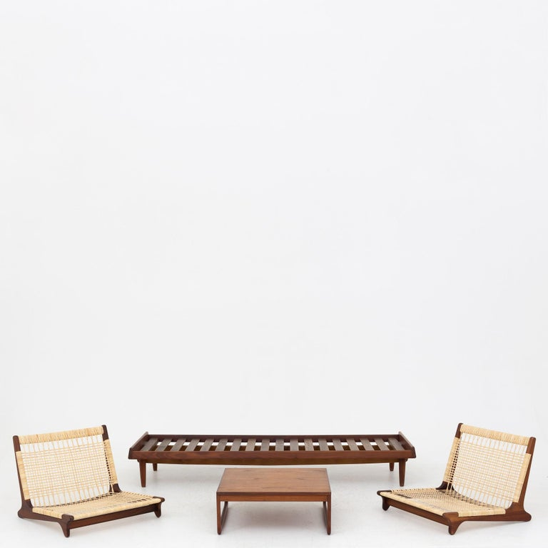 20th Century Modular Set in teak and new cane by Hans Olsen For Sale
