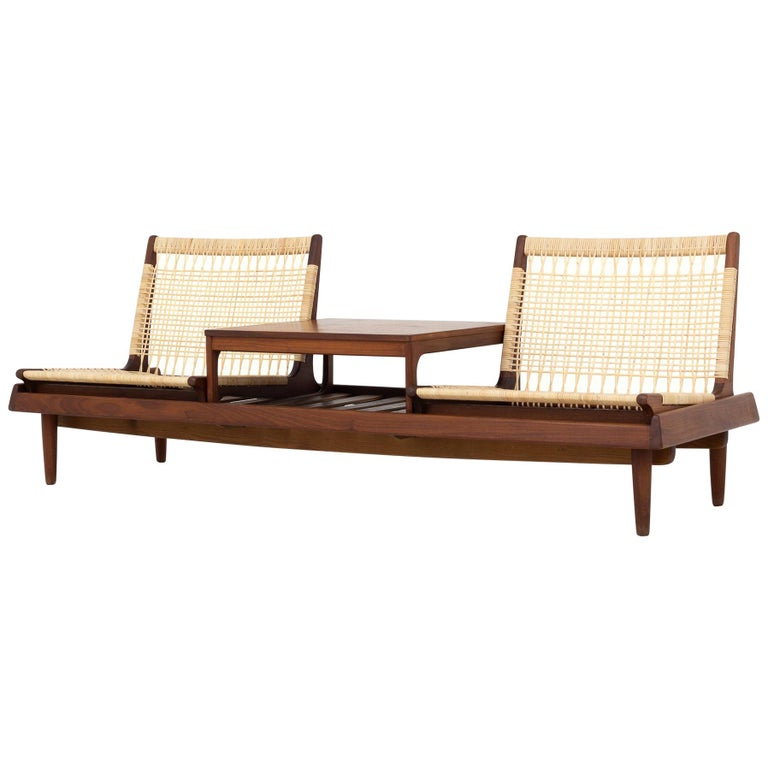 Modular Set in teak and new cane by Hans Olsen For Sale