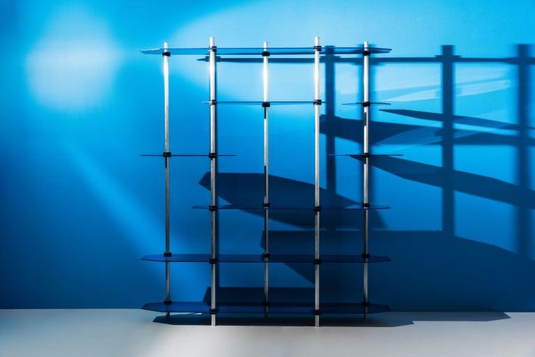 Modular Shelving in Metallic Blue Glaze by Birnam Wood Studio For Sale 7