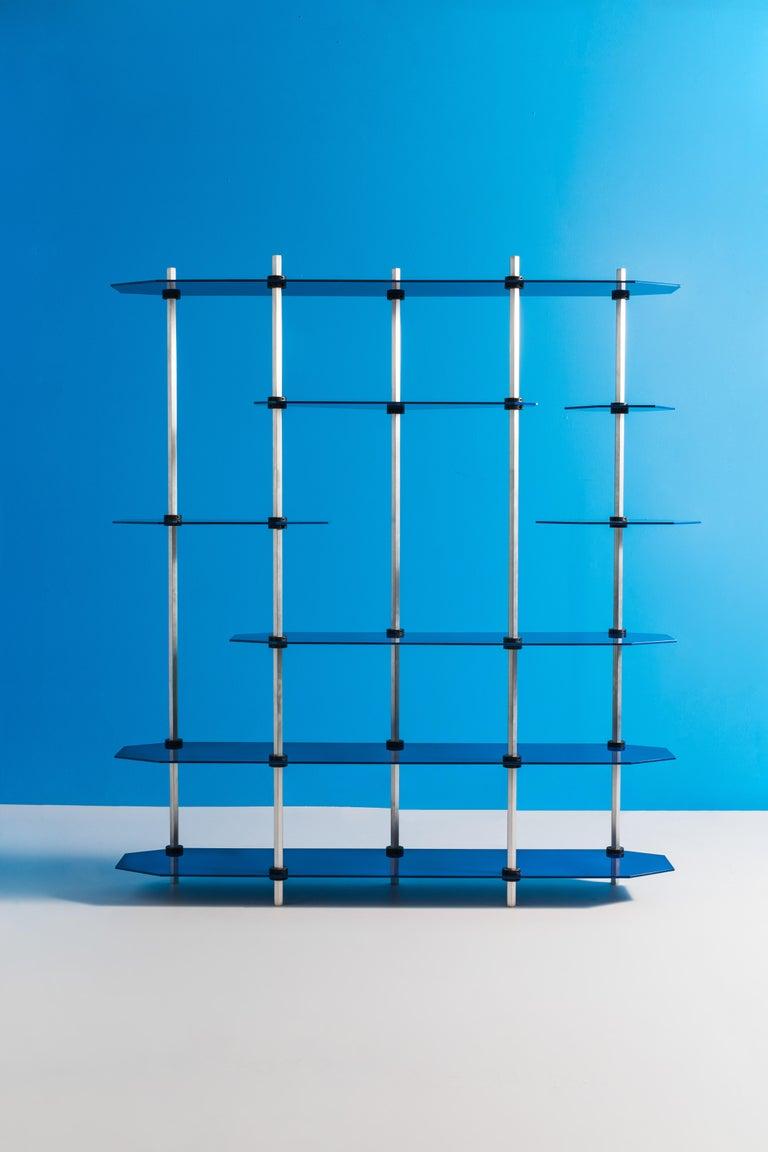 Brushed Modular Shelving in Metallic Blue Glaze by Birnam Wood Studio For Sale