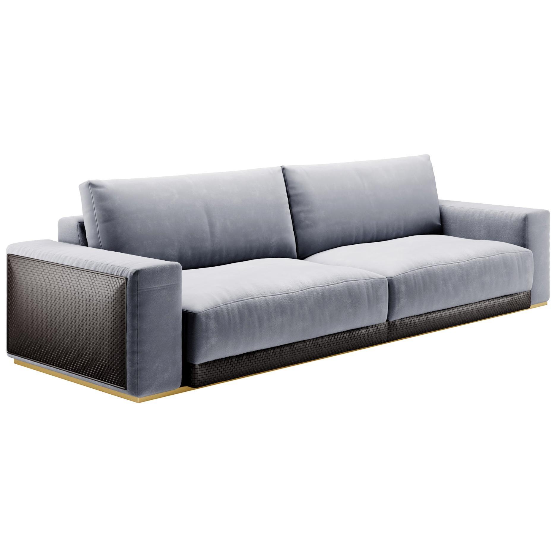 Modular Sofa, Contemporary Sofa by Fabio Arcaini Settee Velvet Leather