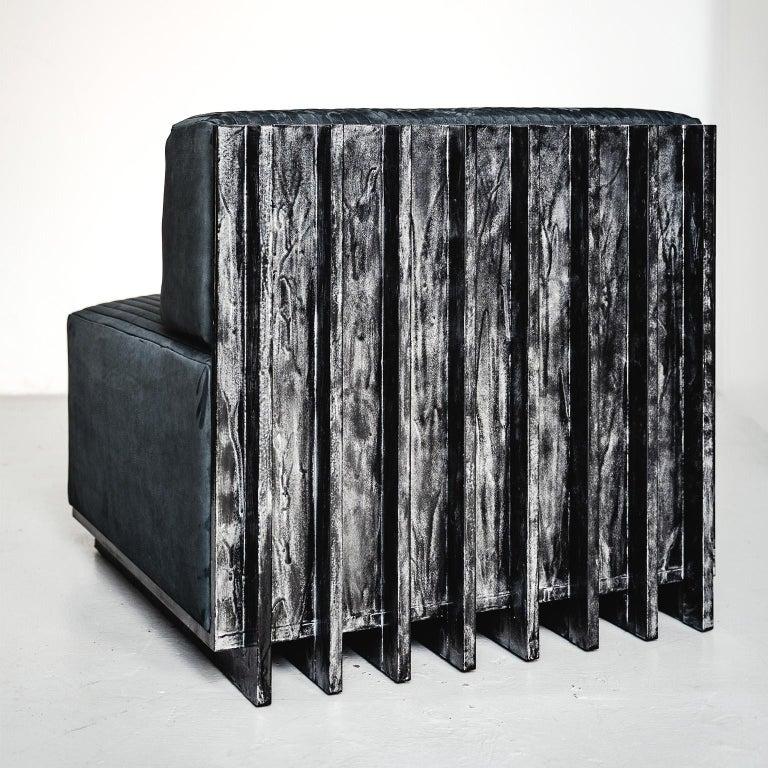 Spinzi Design Modular Sofa Leather Seat Armchair Lame' For Sale 4