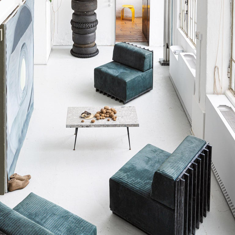 Spinzi Design Modular Sofa Leather Seat Armchair Lame' For Sale 5