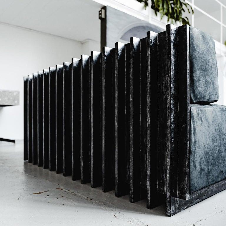 Spinzi Design Modular Sofa Leather Seat Armchair Lame' For Sale 6