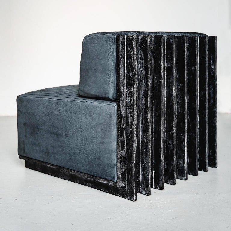 Modern Spinzi Design Modular Sofa Leather Seat Armchair Lame' For Sale