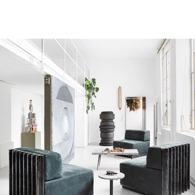 Italian Spinzi Design Modular Sofa Leather Seat Armchair Lame' For Sale