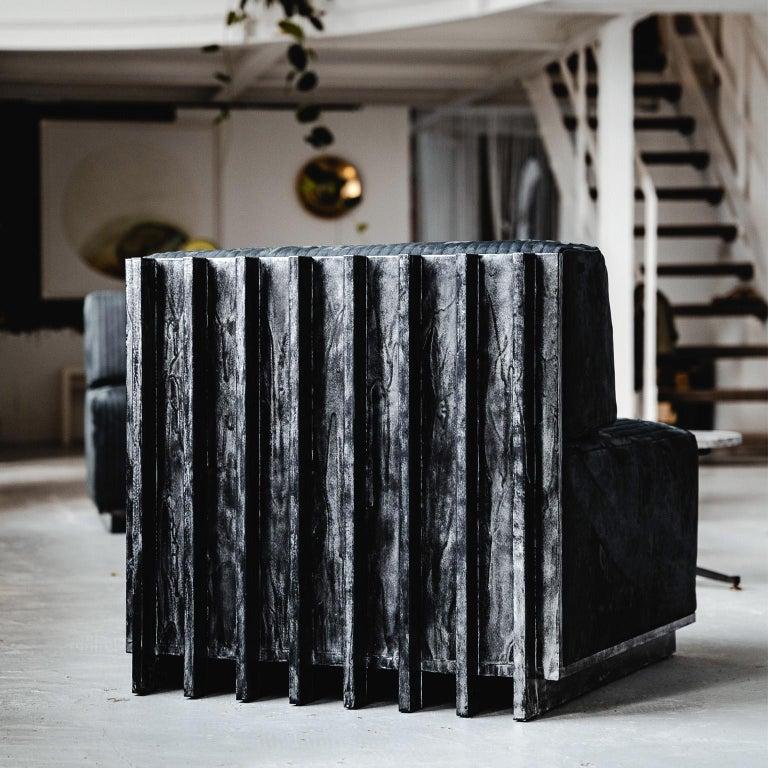 Wood Spinzi Design Modular Sofa Leather Seat Armchair Lame' For Sale