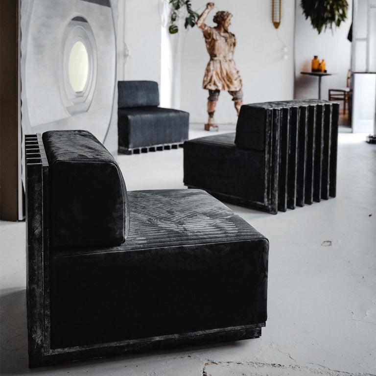 Spinzi Design Modular Sofa Leather Seat Armchair Lame' For Sale 3