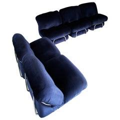 Modular Sofa Sectional Italian Midcentury in Velvet Blu, Form 1970