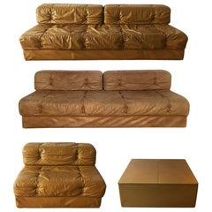Modular Sofa Suite Daybeds Model 'Atrium' Wittmann, Cognac Leather, Austria 1970