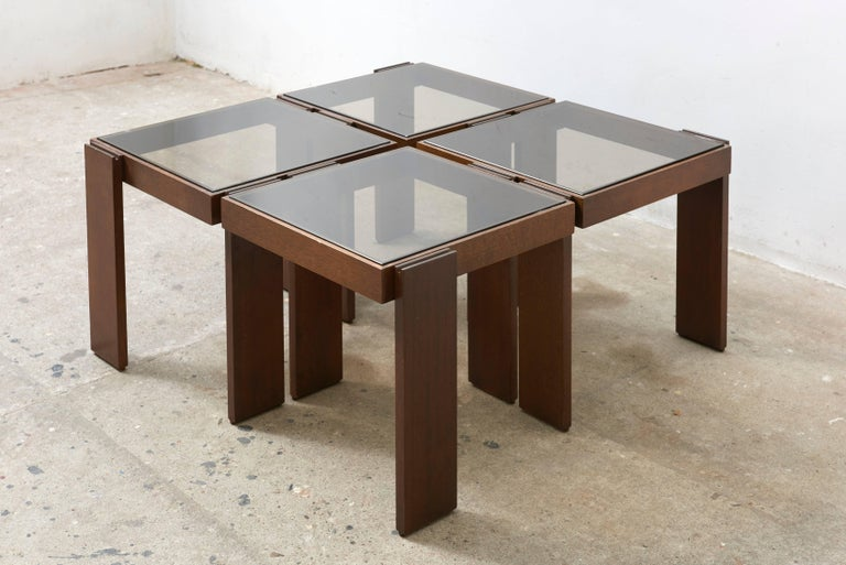 Modular Stackable Solid Wood Coffee Side Tables By Frattini For