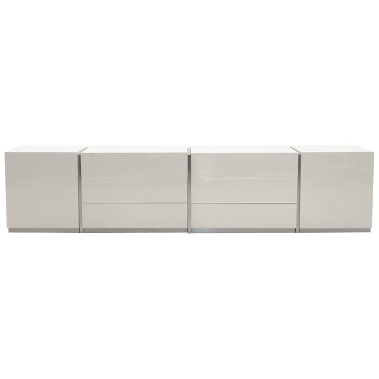 Modular Storage Cabinets With Drawers Shelves By Milo Baughman White Ivory For