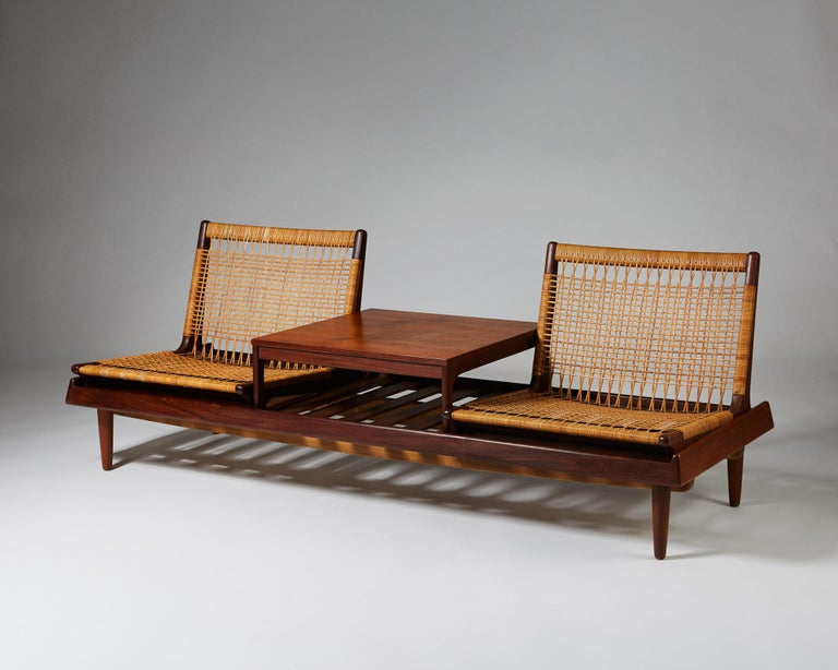 Teak and wicker.