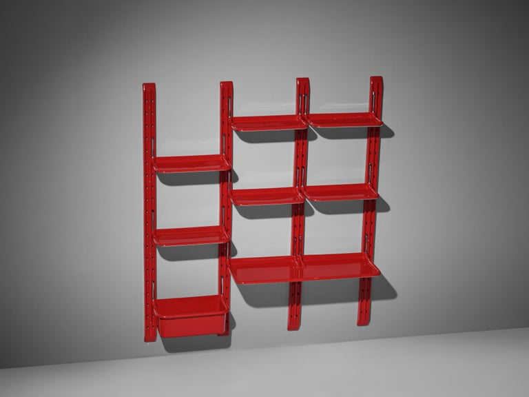 Modular Wall-Unit 'Speedy' in Red by Alberto Rosselli For Sale 3