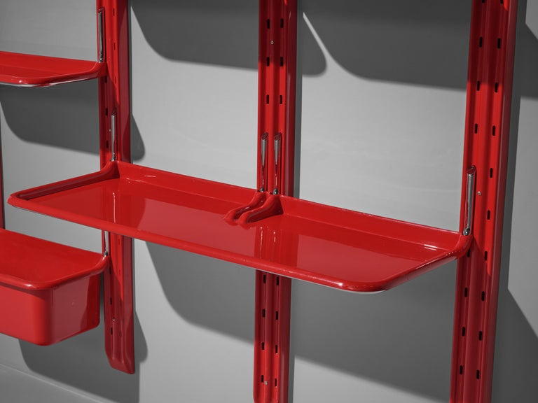 Mid-Century Modern Modular Wall-Unit 'Speedy' in Red by Alberto Rosselli For Sale