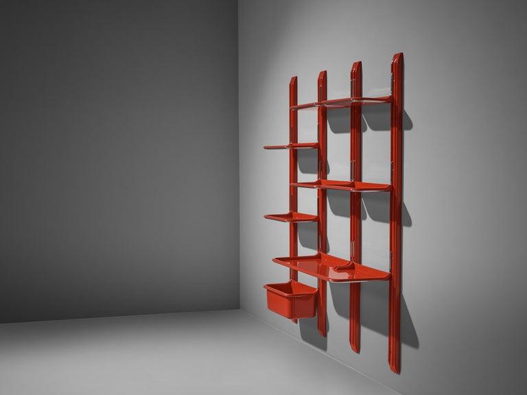 Italian Modular Wall-Unit 'Speedy' in Red by Alberto Rosselli For Sale