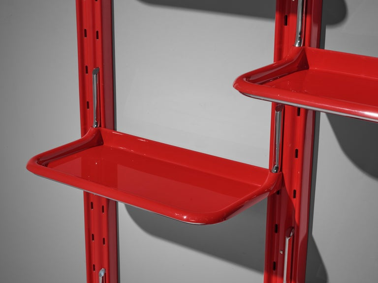 Late 20th Century Modular Wall-Unit 'Speedy' in Red by Alberto Rosselli For Sale