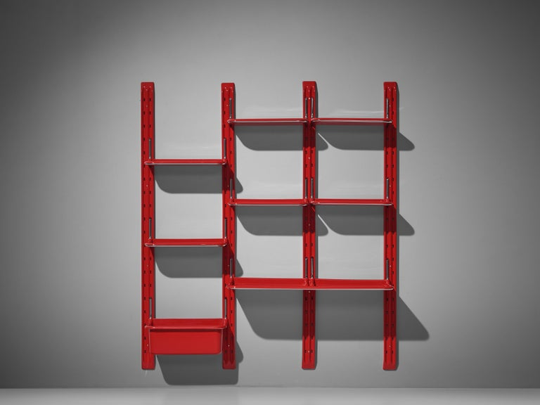 Metal Modular Wall-Unit 'Speedy' in Red by Alberto Rosselli For Sale