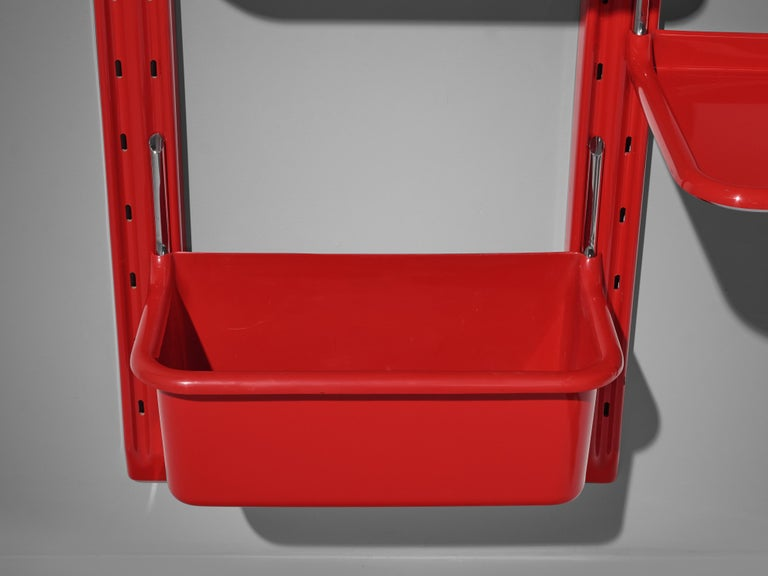 Modular Wall-Unit 'Speedy' in Red by Alberto Rosselli For Sale 1