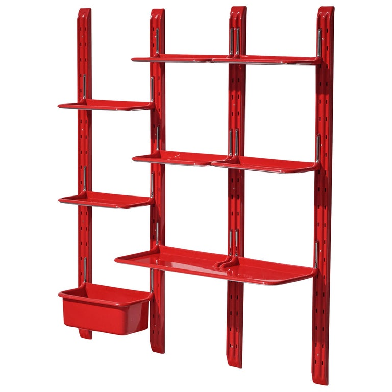 Modular Wall-Unit 'Speedy' in Red by Alberto Rosselli For Sale
