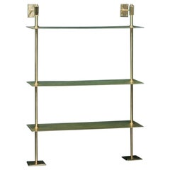 Modular Wall Unit System in Patina Brass and Black Marble Storage Shelves