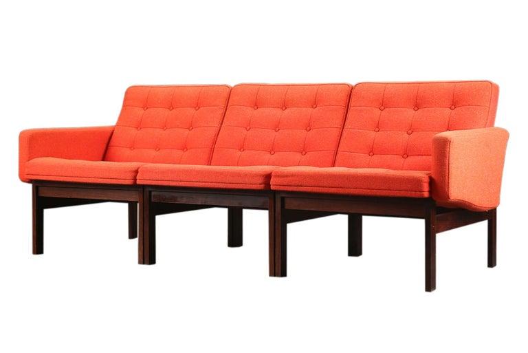 Scandinavian Modern 'Moduline' Three Seat Modular Sofa in Rosewood For Sale
