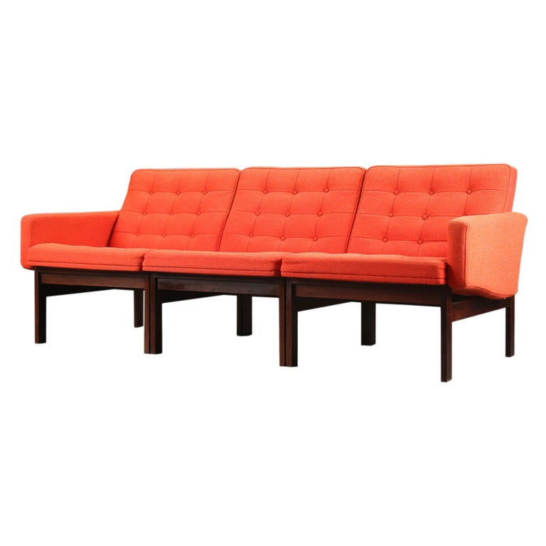 'Moduline' Three Seat Modular Sofa in Rosewood For Sale