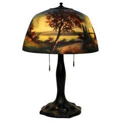 Moe Bridges Co. / Signed / Lake Landscape Table Lamp, U.S.A. 20th Century