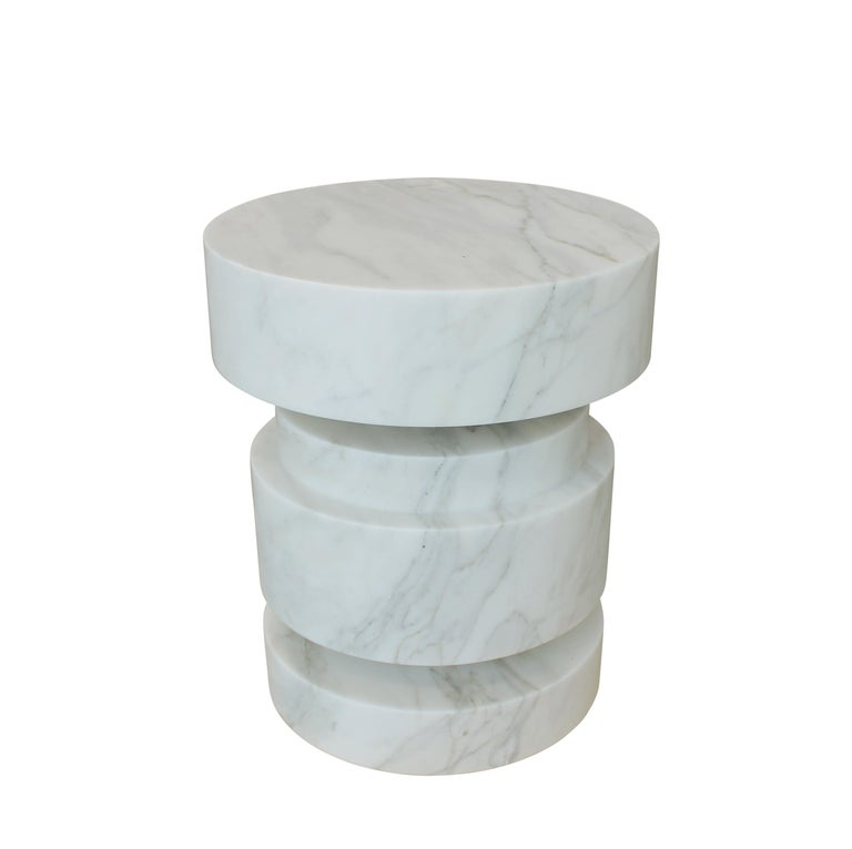 Modern Mogador Solid Calacatta Gold Marble Side Table For Sale