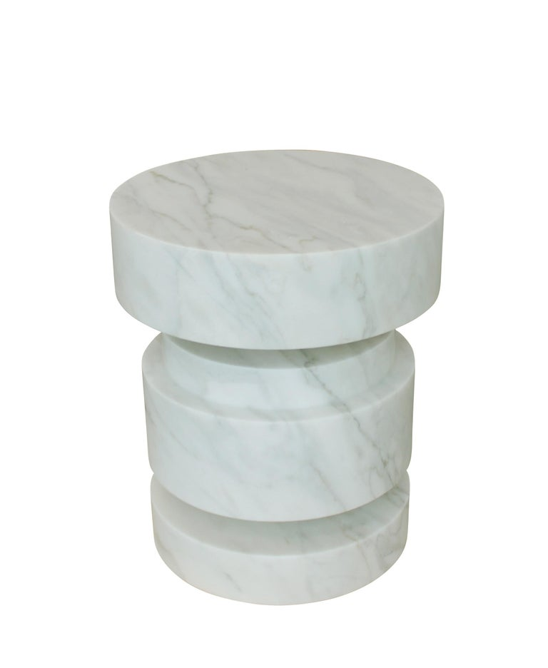 American Mogador Solid Calacatta Gold Marble Side Table For Sale
