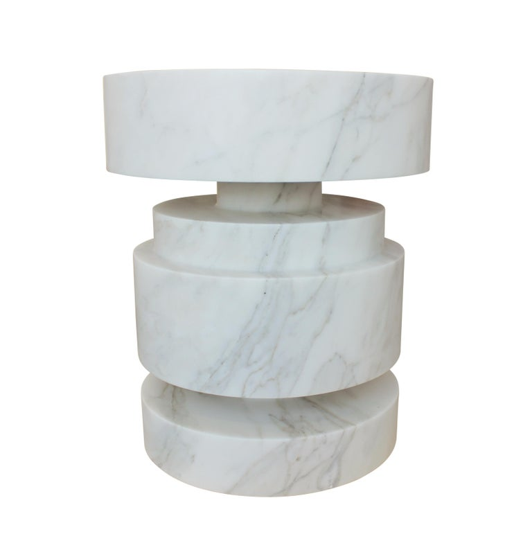 Carved Mogador Solid Calacatta Gold Marble Side Table For Sale