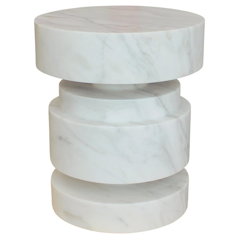 Mogador Solid Calacatta Gold Marble Side Table For Sale