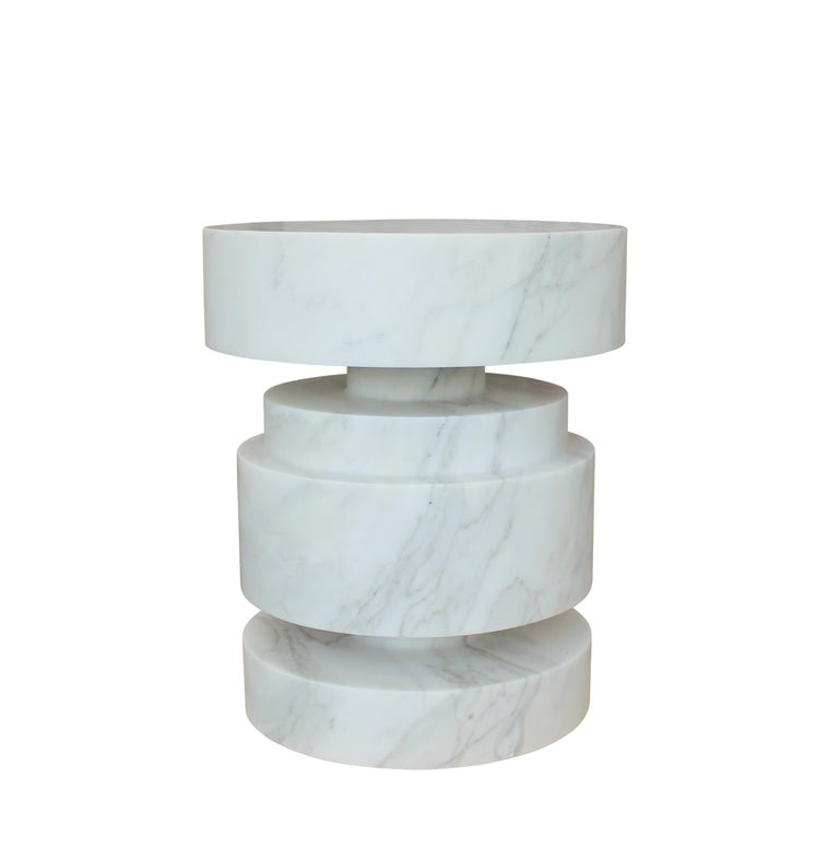 Carved Mogador Solid Marble Side Table For Sale