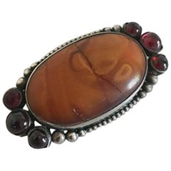 Mogens Ballin Silver Brooch with Amber and Red Stones