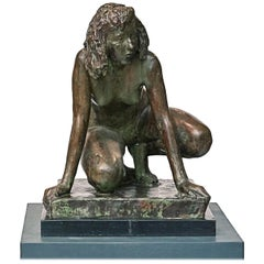 Mogens Bøggild Bronze Sculpture of a Crouching Women