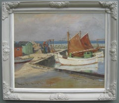 'Mending the Nets, Sandvig' Sunny Harbour Scene, oil on canvas circa 1931