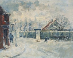 Paris Post-Impressionist oil, 'Montmartre in Winter', Charlottenberg, Copenhagen